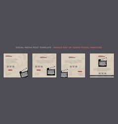 Set of social media post template with movie vector