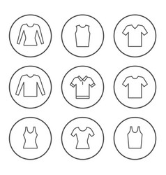 set round line icons t-shirt vector image