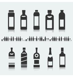 Set symbols bottle alcohol vector