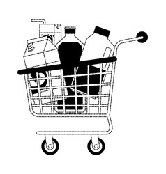 Shopping cart with drinks juice and water bottle vector