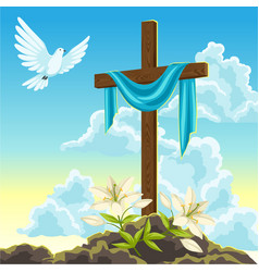 Silhouette of wooden cross with shroud dove and vector