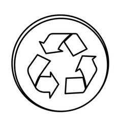 Silhouette symbol recycle sign icon vector
