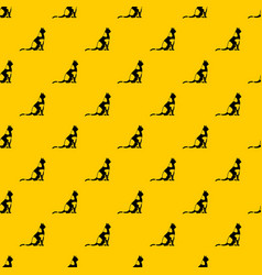 sitting cat pattern vector image