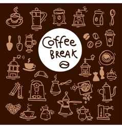 Sketch doodle coffee icon set Hand drawn vector
