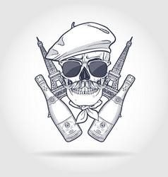 sketch french skull vector image