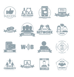 social network logo icons set simple style vector image
