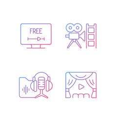 Streaming services gradient linear icons set vector