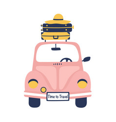 summer travel with cute retro car and suitcases vector image