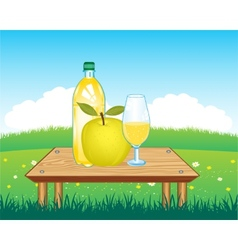 Table with drink on nature vector