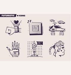 technologies future retro icon set flat vector image