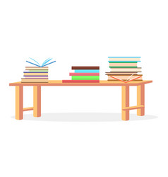 Three heaps of literature lying on table closeup vector