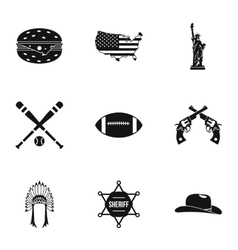 Tourism in USA icons set simple style vector