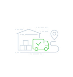 Warehouse and van delivery icon line art vector