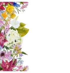 watercolor floral seamless border vector image