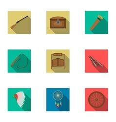 Wild west set icons in flat style Big collection vector