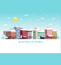winter day city flat poster vector image