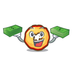 With money bag apple chips presented on character vector