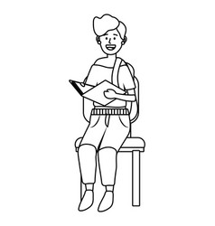 woman sitting on a chair black and white vector image
