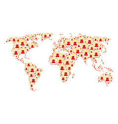 Worldwide map collage of alarm icons vector