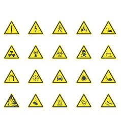 yellow warning hazard signs set vector image