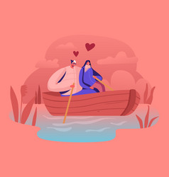 young happy couple man and woman floating boat vector image