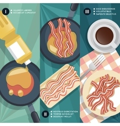 Cooking instruction of frying bacon vector image vector image