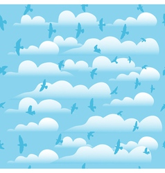 Flying birds on cloud blue sky seamless background vector image