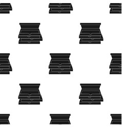 pizza boxes icon in black style isolated on white vector image