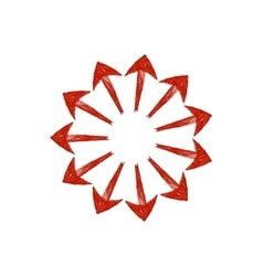 Red grungy arrows located in a circle like rays vector image