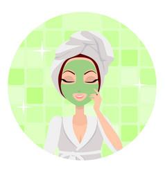 scrubbing girl applying a face scrub vector image vector image