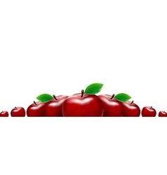 Border of red apples Template for your design vector image