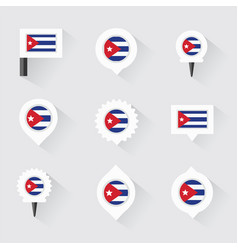 cuba flag and pins for infographic and map design vector image vector image