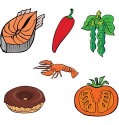 cutting fishred pepperlobsterdonutPeasCutting toma vector image vector image