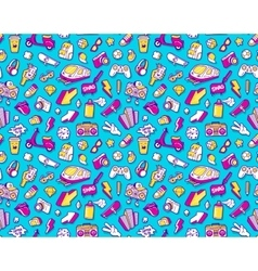 Graffiti seamless pattern with line icons collage vector image