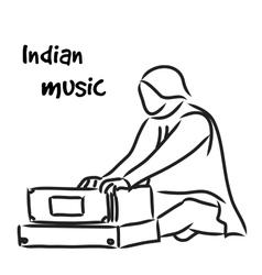 Indian musician playing harmonium vector image vector image