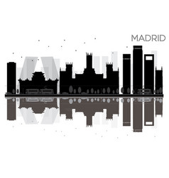 madrid city skyline black and white silhouette vector image