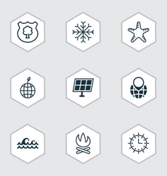 Set of 9 ecology icons includes pin earth ocean vector