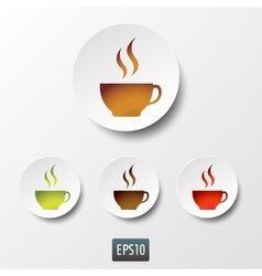 White paper coffee and tea cup icon set vector image vector image