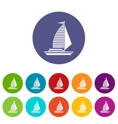 yacht with sails set icons vector image vector image
