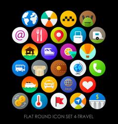 flat round icon set 4-travel vector image vector image