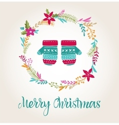 knitted mittens Xmas background Merry Christmas vector image