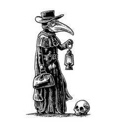 plague doctor with bird masksuitcase lantern vector image