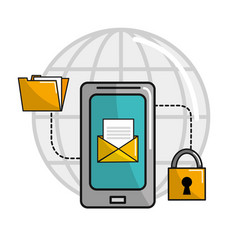 smartphone service connect network vector image