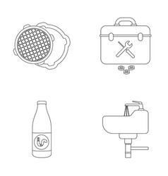 A sewer hatch a tool box a wash basin and other vector
