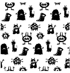 cute monsters silhouettes pattern vector image vector image