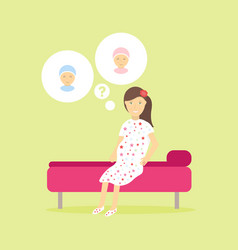 cute pregnant woman dreaming about her future vector image
