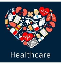 Heart shape emblem with medicine symbols vector image vector image