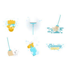 set of cleaning tools flat design style vector image