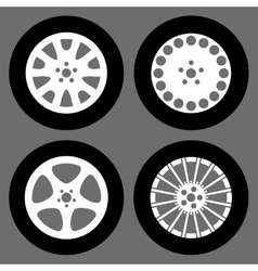 set of different rims isolated vector image