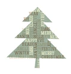 vintage christmas tree golden vector image vector image